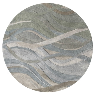 Alliyah Handmade Grey/Green New Zealand Blend Wool Rug (10' Round)