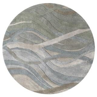 Alliyah Handmade Grey/Green New Zealand Blend Wool Rug (10' Round)