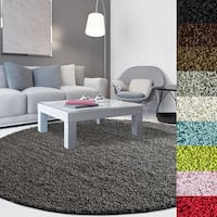 Solid-colored Round Dense Shag Area Rug - 10' x 10'