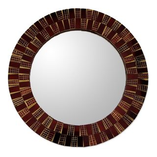 Glass Mosaic Mirror, 'Golden Flames' (India)