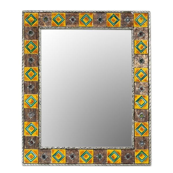 Mirror, 'Autumn Warmth' (India) - Brown