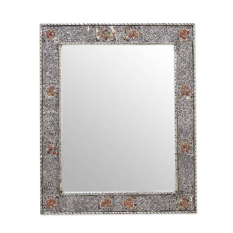 "Handmade Mirror, 'Celebration' (India) - 13.5"" W x 17.75"" H"
