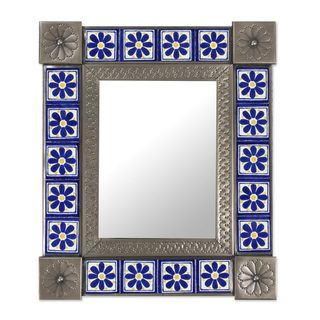Tin and Ceramic Wall Mirror, 'Mexican Wildflowers' (Mexico)