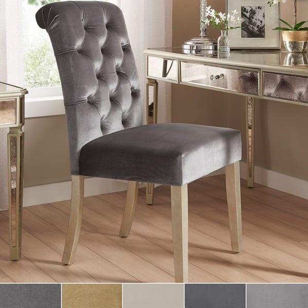 Pleasant Shop Benchwright Velvet Tufted Rolled Back Parsons Chairs Ocoug Best Dining Table And Chair Ideas Images Ocougorg