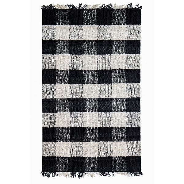 Shop Jani Bluff Black Ivory Plaid Jute Rug 5 X 7 On