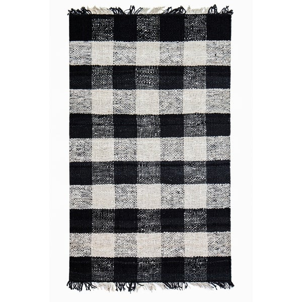 Shop Jani Bluff Black Ivory Plaid Jute Rug 5 X 7
