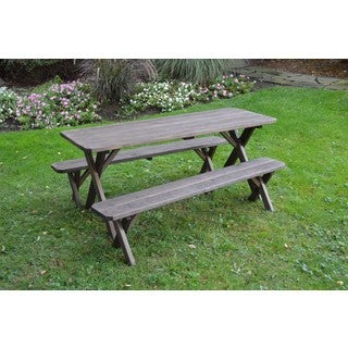 Pressure Treated Pine Cross Leg Picnic Table with Detached Benches Walnut Stain-4,5,6,or 8Ft (4 options available)