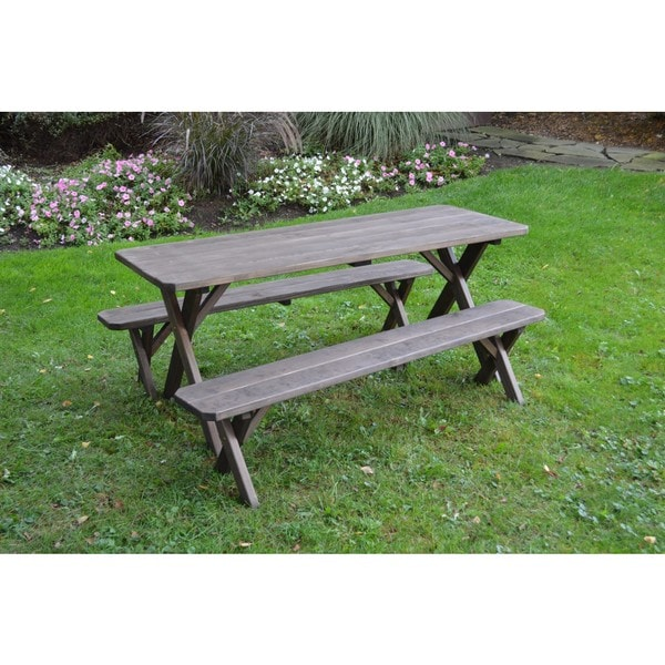 Shop Pressure Treated Pine Cross Leg Picnic Table With Detached - Picnic table with removable benches