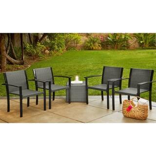 Handy Living Boca Indoor/Outdoor 4 Piece Grey Rattan and Aluminum Stackable Arm Chairs