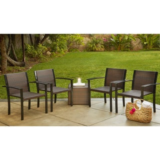 Handy Living Boca Indoor/Outdoor 4 Piece Brown Rattan and Aluminum Stackable Arm Chairs