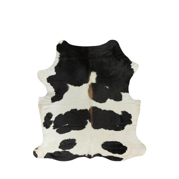 White/Black Geniune and 100-percent Natural Cowhide Rug