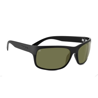 Serengeti Pistoia Unisex Shiny and Satin Black Frame with Polarized 555nm Lens Sunglasses - Black/Grey