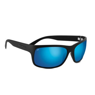 Serengeti Pistoia Unisex Satin Black Frame with Polarized 555nm Blue Tint Lens Sunglasses