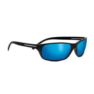 Serengeti Pisa Unisex Shiny Black Frame with Polarized 555nm Blue Tint Lens Sunglasses