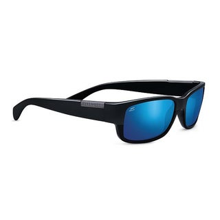 Serengeti Merano Unisex Satin and Shiny Black Frame with Polarized 555nm Blue Tint Lens Sunglasses