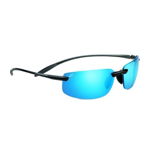 Serengeti Lipari Unisex Shiny Hermatite Frame with Polarized 555nm Blue Tint Lens Sunglasses