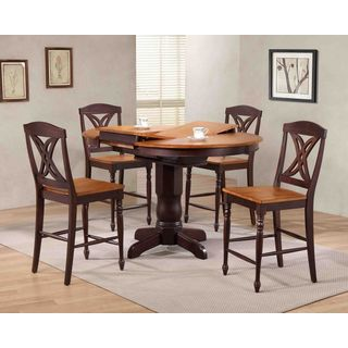 """Iconic Furniture Company 42""""x42""""x60"""" Whiskey/Mocha Butterfly Back Counter Height 5-Piece Dining Set"""