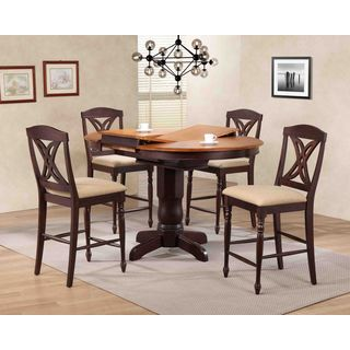 """Iconic Furniture Company 42""""x42""""x60"""" Whiskey/Mocha Butterfly Back Upholstered Counter Height 5-Piece Dining Set"""