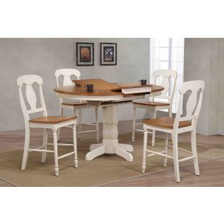 """Iconic Furniture Company 42""""x42""""x60"""" Antiqued Caramel/Biscotti Napoleon Back Counter Height 5-Piece Dining Set"""