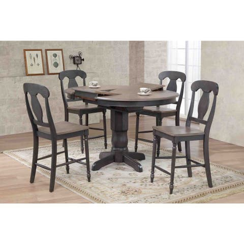 """Iconic Furniture Company 42""""x42""""x60"""" Antiqued Grey Stone/Black Stone Napoleon Back Counter Height 5-Piece Dining Set"""