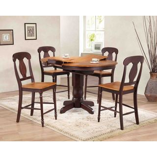 """Iconic Furniture Company 42""""x42""""x60"""" Whiskey/Mocha Napoleon Back Counter Height 5-Piece Dining Set"""