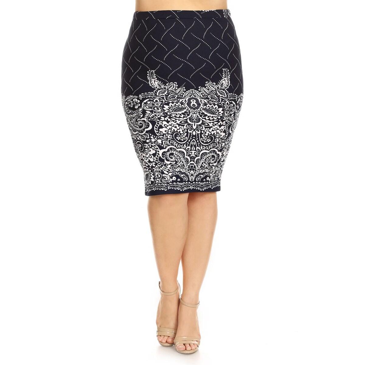Women's Plus Size Floral Pencil Skirt (2X), Blue
