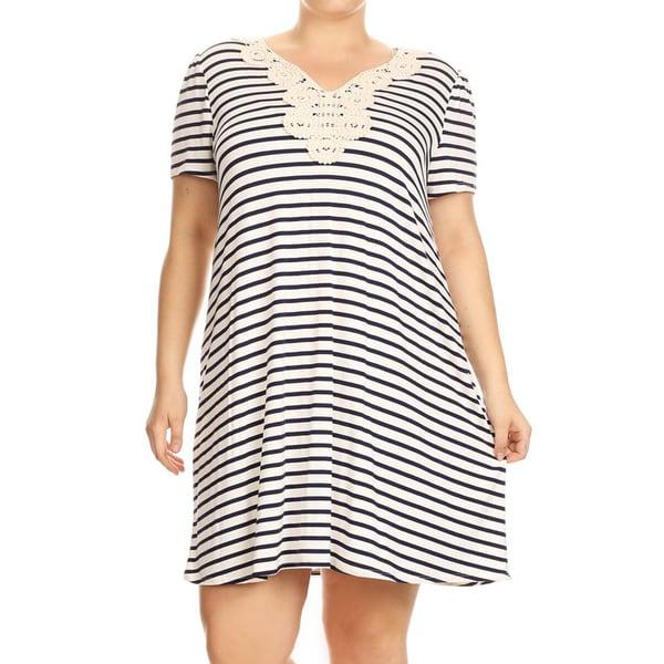 Women's Plus Size Striped Short Tee Dress