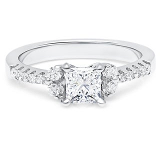 LeZari & Co.1.10ct TDW with a 0.75ct Princess Cut Center Diamond, Prong set, Floral Modern, Diamond
