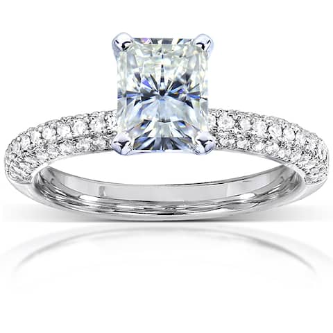 Annello by Kobelli 14k White Gold 1 1/2ct TGW Radiant-cut Moissanite and Diamond Micro-pave Engagement Ring