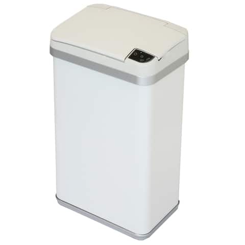 Halo Multifunction Sensor Trash Can, Matte Finish Pearl White, 4 Gallon, 8.25-Inch Opening
