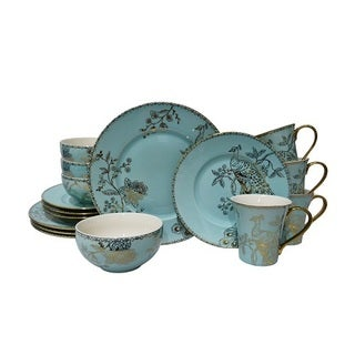 222 Fifth Peacock Garden Electroplated Turquoise 16 Piece Dinnerware Set