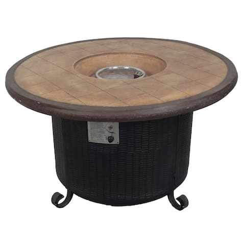 Hiland Brown Faux Stone and Stainless Steel Propane Round Fire Pit