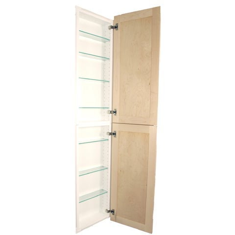 Shaker Style Double-Door Frameless Recessed in wall Bathroom Medicine Storage Pantry Cabinet-Multiple Finishes