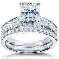 Annello by Kobelli 14k White Gold 1 1/2ct TGW Radiant Moissanite (HI) and Diamond Vintage Bridal Rings Set