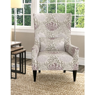 handy living venecia purple floral high back wing chair