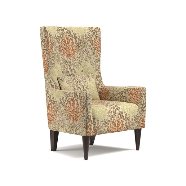 Handy Living Venecia Orange Floral High Back Wing Chair   Free Shipping  Today   Overstock.com   21836905