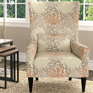 Handy Living Venecia Orange Floral High Back Wing Chair