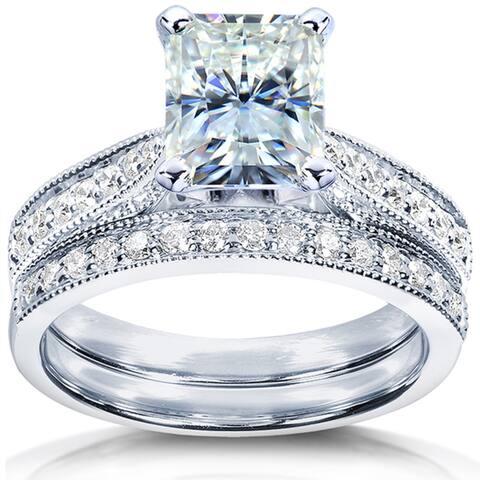 Annello by Kobelli 14k White Gold 2 1/8ct TGW Radiant Moissanite and Diamond Vintage Bridal Rings Set