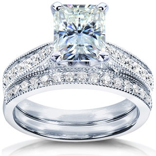 Annello by Kobelli 14k White Gold 2 1/8ct TGW Radiant Moissanite (HI) and Diamond Vintage Bridal Rings Set