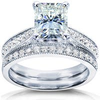 Annello by Kobelli 14k White Gold 2 1/8ct TGW Radiant Moissanite and Diamond Vintage Bridal Rings Set