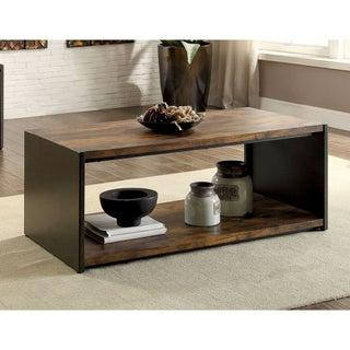 Furniture of America Omer Contemporary Black Open Shelf Coffee Table