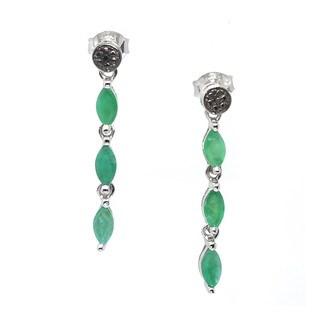 De Buman Sterling Silver 1.52ctw Genuine Emerald and Black Diamond Earrings