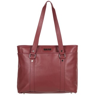 Kenneth Cole Reaction Downtown Darling Genuine Pebbled Leather Top Zip 16-inch Laptop Tote Bag (Option: Red)