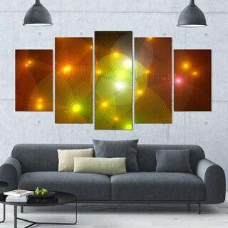 Designart 'Golden Fractal Lights in Fog' Abstract Wall Art Canvas - 60x32 - 5 Panels Diamond Shape