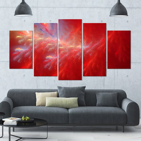 Designart 'Mystic Red Thunder Sky' Abstract Wall Art on Canvas - 60x32 - 5 Panels Diamond Shape