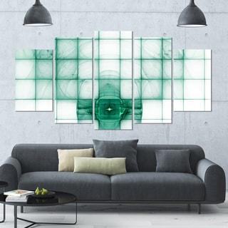 Designart 'Light Blue Bat on Radar Screen' 60x32 5-panel Diamond Shaped Abstract Wall Art on Canvas