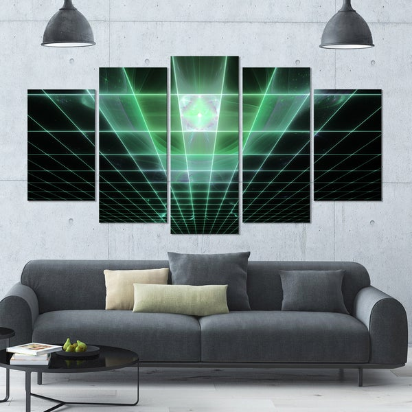 Designart 'Light Green Bat on Radar Screen' Abstract Wall Art on Canvas - 60x32 - 5 Panels Diamond Shape