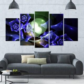 Designart 'Blue Bouquet of Beautiful Roses' Abstract Wall Art on Canvas - 60x32 - 5 Panels Diamond Shape