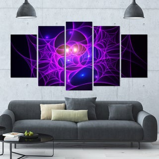 Designart 'Bright Purple Fractal Cobweb' Abstract Wall Art on Canvas - 60x32 - 5 Panels Diamond Shape