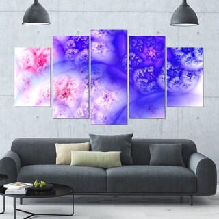 Designart 'Light Blue Magic Stormy Sky' Abstract Wall Art on Canvas - 60x32 - 5 Panels Diamond Shape